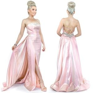 Perfect Pink Pageant Gown Iridescent Prom Dress